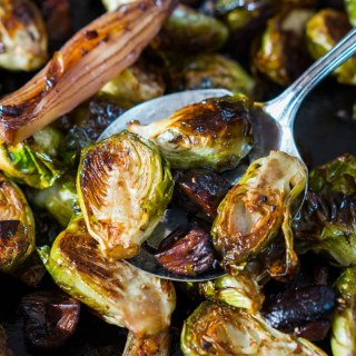 Roasted Brussels Sprouts and Shallots with Mushrooms is a mouthful to say and an unbelievable combination to eat   HostessAtHeart.com