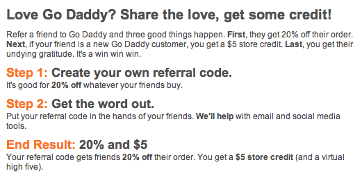 GoDaddy Refer A Friend Program