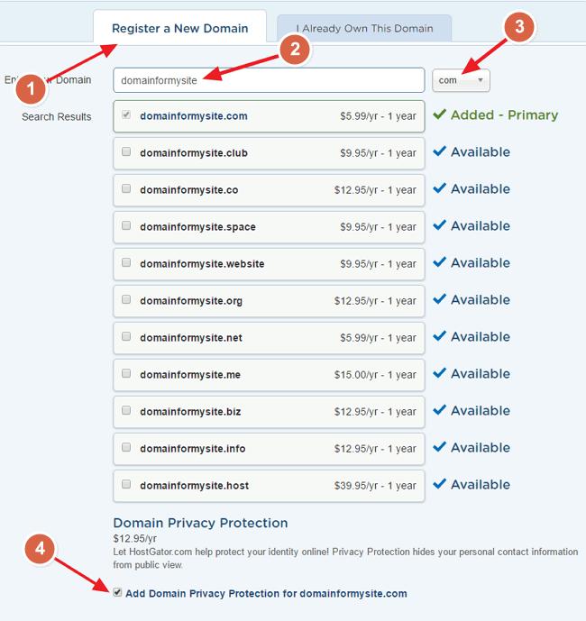 Buy HostGator Domain Name