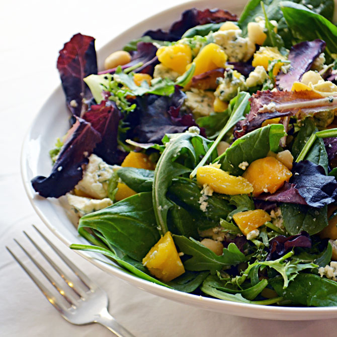 Mango and Blue Cheese Salad with Honey Citrus Dressing