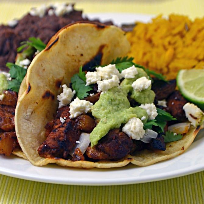 Tacos Al Pastor with Tomatillo-Avocado Sauce