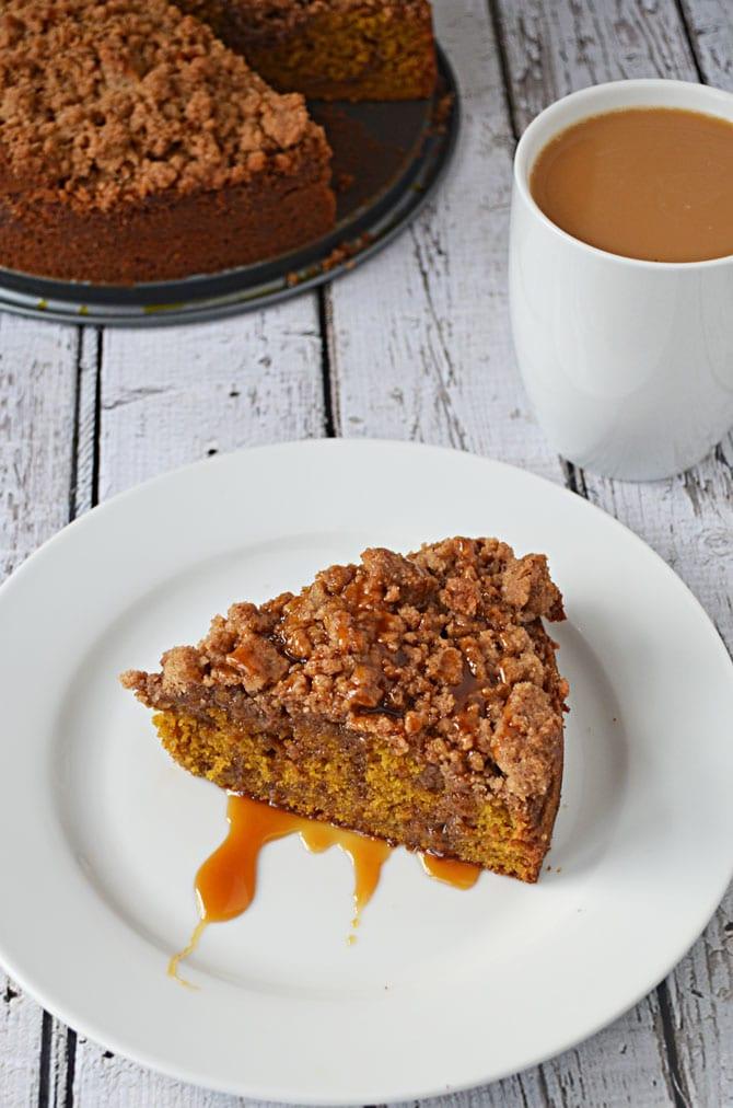 Pumpkin Coffee Cake with Maple Caramel Sauce