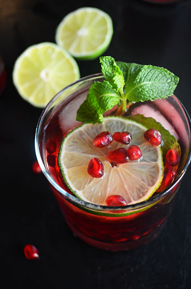 Pomegranate Mojitos-- the perfect drink for your holiday events!