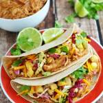 Crock Pot Hawaiian BBQ Chicken Tacos with Pineapple Slaw