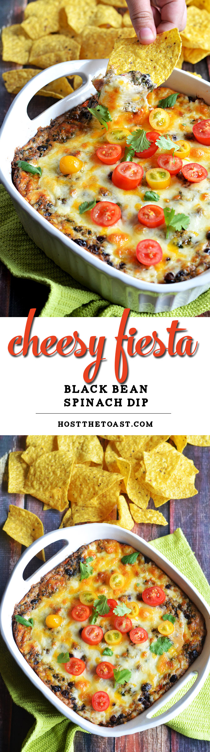Cheesy Fiesta Black Bean Spinach Dip. This dip is bound to be a new favorite, and it's easy to make! Bake it for Cinco de Mayo or your next party. It's ADDICTIVE. | hostthetoat.com