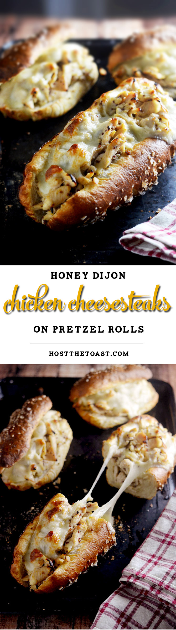 Honey Dijon Chicken Cheesesteaks with Pretzel Rolls. You need to make these ASAP. The pretzel rolls are made with frozen bread and baking soda!   hostthetoast.com