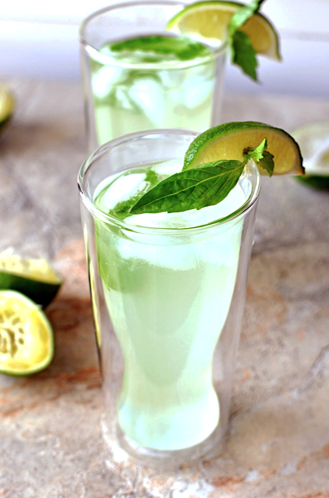 Thai Basil Limeade. This simple drink is SO refreshing and perfect for summer! Not to mention it's delicious when you spike it. I'll take it over lemonade any day! | hostthetoast