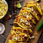 Crunchy Mexican BBQ Sauced Chicken Tacos with Charred Corn Relish