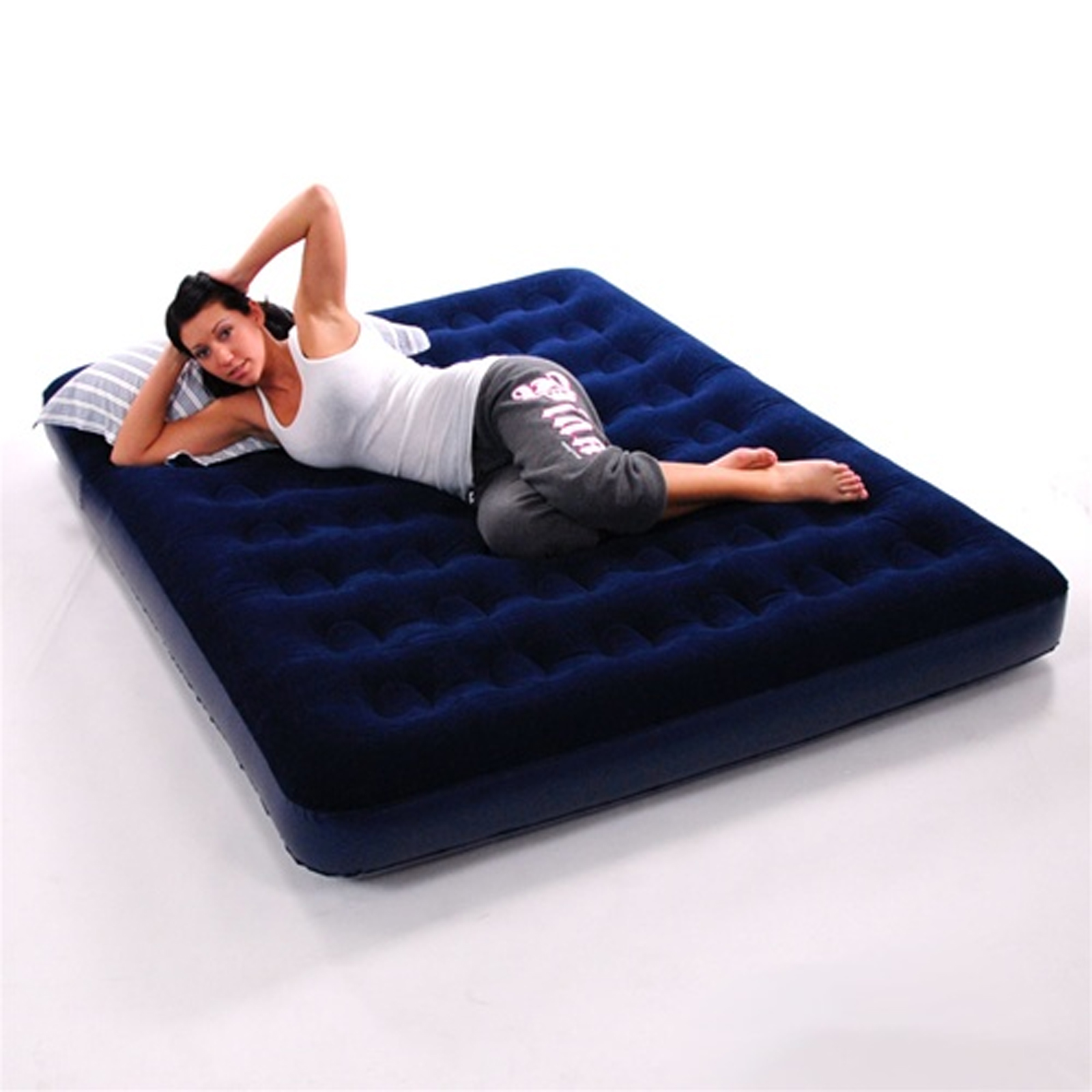 Double Inflatable Mattress Double Inflatable Flocked Blow Up Air Bed Airbed Guest