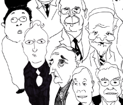 "Cartoon figures of leading climate deniers in the ""Dealing in Doubt"" report."