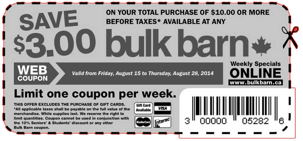 Bulk Barn Printable Coupons Save $3 off Your Total Purchase Of - coupon flyer