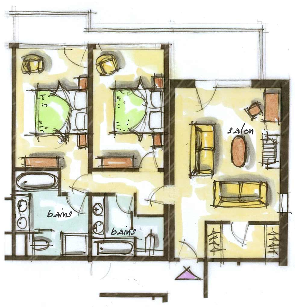 Plan Chambre Hotel 2 Bedroom Suite Mountain View Hôtel Le Blizzard