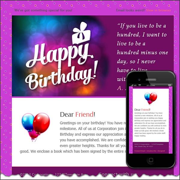 Happy birthday!!! Free HTML E-Mail Templates - sample happy birthday email