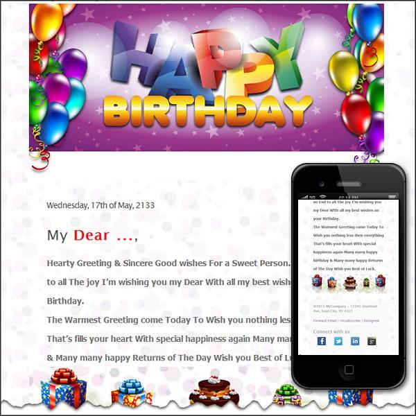 Happy Birthday to You Free HTML E-Mail Templates - sample happy birthday email