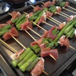 Asparagus and Prosciutto on bar-be-cued on skewers