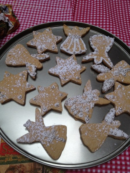 Austrian Christmas Biscuits made by my cousin and served on the lid of the tin!