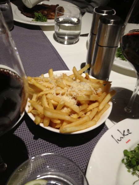 Parmesan Truffle Fries go so well with eye fillet steak and Penfolds 389
