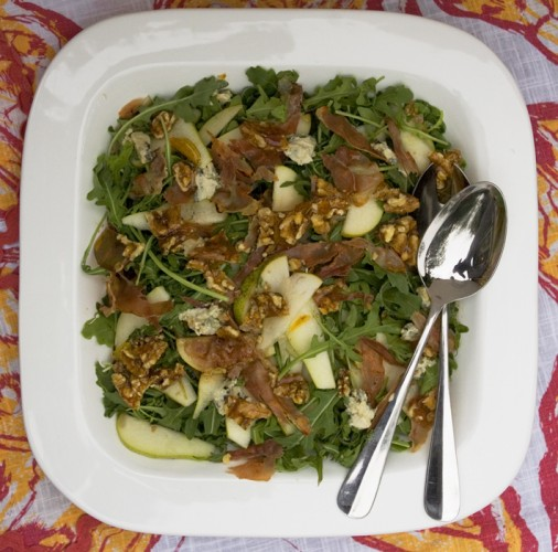 Pear, Blue Cheese and Rocket Salad with Walnut Praline
