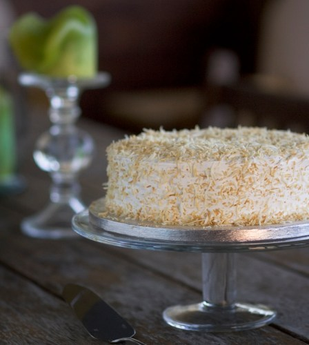 With Meringue Frosting and toasted coconut