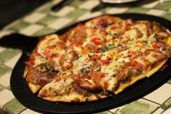 GF proscuitto, pesto and artichoke pizza