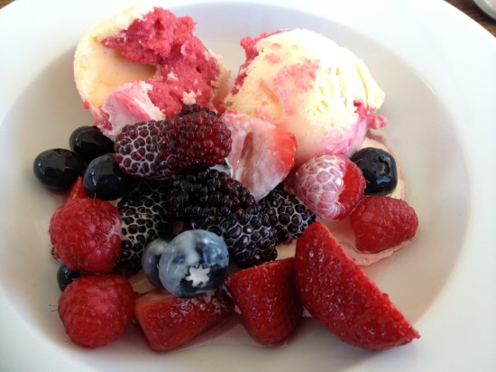 Raspberry Ripple with berry salad and cream
