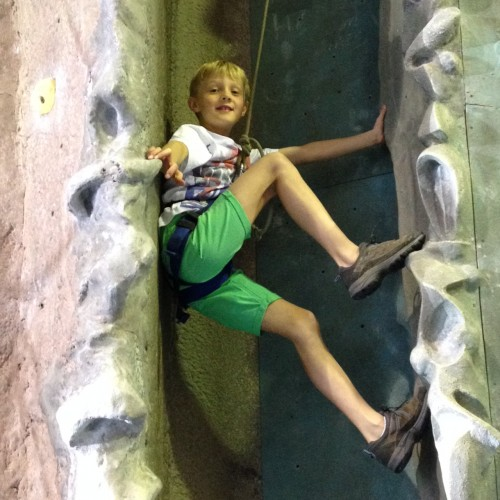 Halfway up 'the chimney' which is where you climb like you're climbing the door frames in your home - Alfie's had plenty of practise!