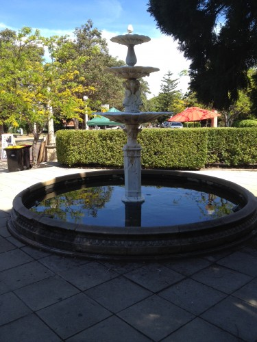 One of the fountains in the Village Square