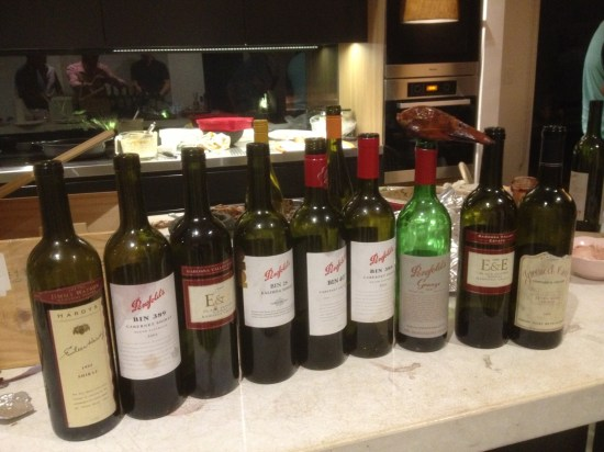 The line-up.  More than half the bottles came from Penfolds.