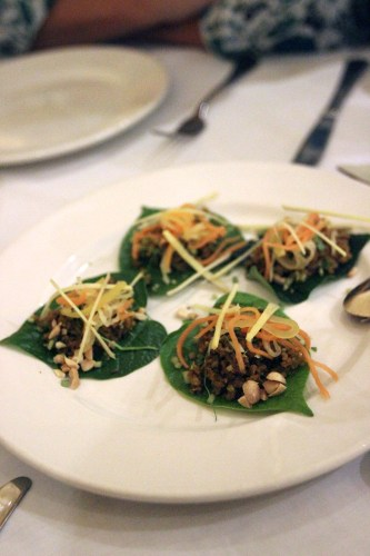 Minced Goat in young betel leaves $16.00