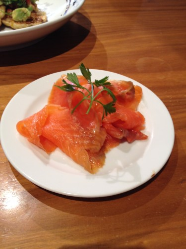 Tasmanian Smoked Salmon that's available as an entree but this was served as a side dish.
