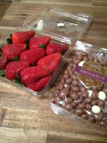 I didn't have time to make dessert so I bought some strawberries and some chocolate coated fruit and nuts - not a bad substitute!