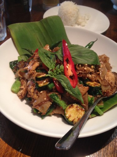 Pad Kee Mao with Chicken $18.50