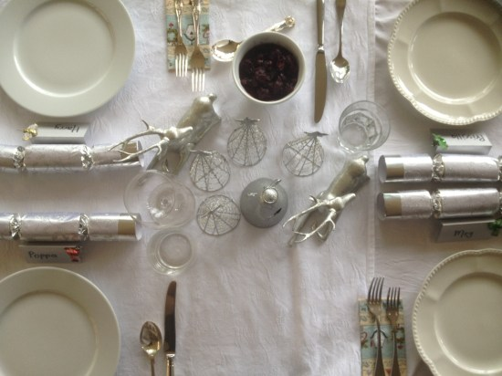 The table setting with cherry chutney