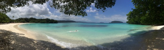 The beautiful turquoise waters of Champagne Bay.