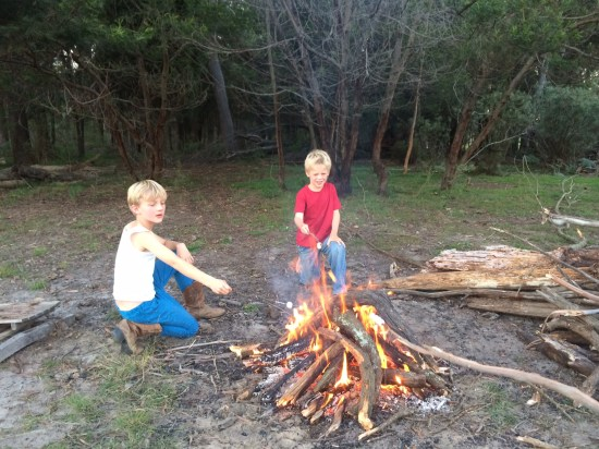 The fire the boys built by themselves