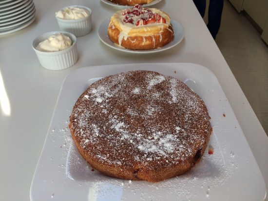 Plum cake with creme anglaise