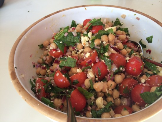 Tomato, chickpea and feta salad