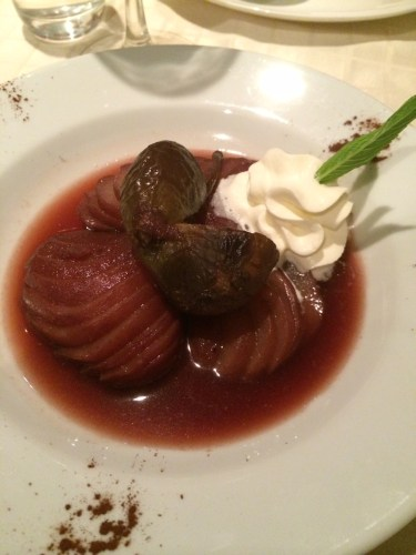 Pear and fig poached in red wine and black currant juice