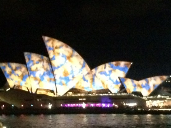The sails all lit up