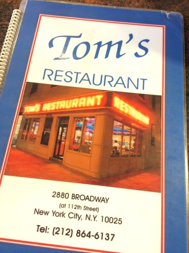 The menu featuring the famous angle of the restaurant that appears in Seinfeld