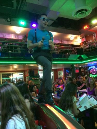 Our waiter singing Copacabana