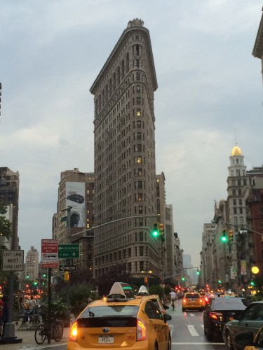 Flatiron Building - covered in scaffolding at the lower levels