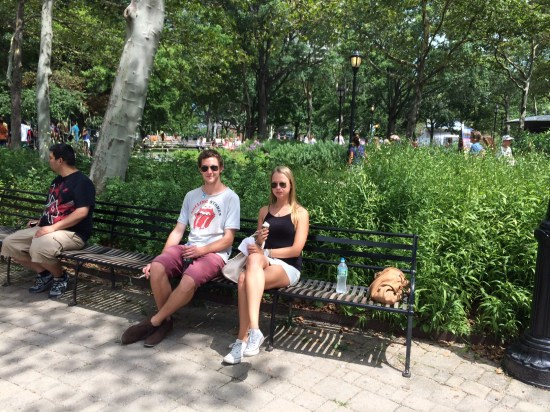 Relaxing at Battery Park not realising we needed to be queuing for the ferry to Liberty Island