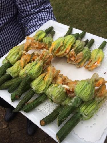 Zucchini flowers stuffed with mozzarella and ricotta