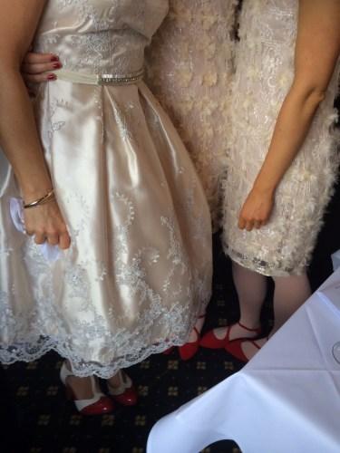 Stunning fabric on the bride's dress