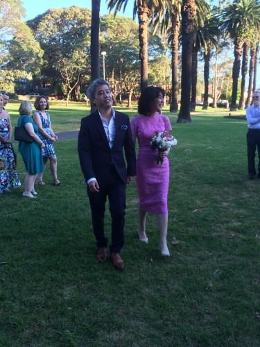 Elkington Park, Balmain.  The bride and groom arrive together