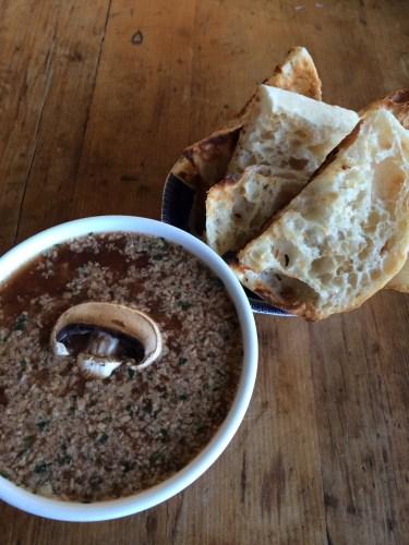 Porcini mushroom pate with toasted Turkish bread