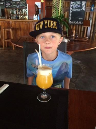 Fruit Punch:  Blended fresh pineapple/pawpaw/banana and orange juice