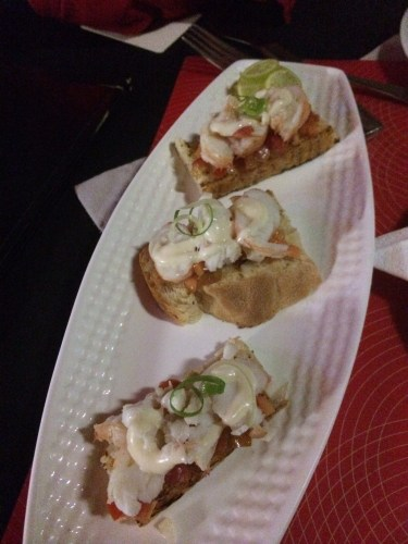 Lobster tapas on home-baked bread