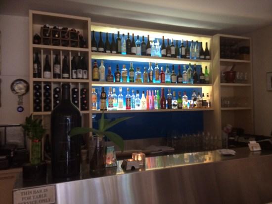 A 'Grecian Blue' backlit bar